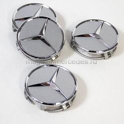 Заглушка колесного диска Мерседес серебристый титан