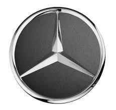 Заглушка колесного диска Мерседес тёмно серая с хромом